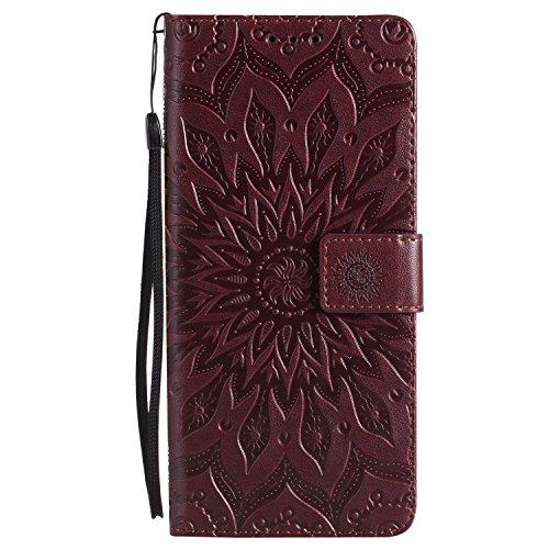Karomenic kompatibel mit Samsung Galaxy S10 PU Leder Hülle Prägung Sonnenblume Muster Handyhülle Brieftasche Silikon Schutzhülle Klapphülle Magnet Ledertasche Wallet Flip Case Cover Etui,Brown
