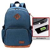 KALIDI Rucksack Unisex Causal Backpack 15.6 Zoll für 15' Notebook Lässiger Daypacks Schulrucksack Schultaschen Mädchen Schüler Bag mit USB Ladeanschluss Wassedichter für Campus Schule Freizeit