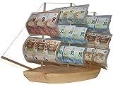 Geschenk Geldgeschenke-Verpackung zum Geburtstag, Geburtstagsgeschenk Segel-Schiff aus Holz zu Pensionierung/Ruhestand, kreativ originell Geld-Geschenkidee-n DREI-Master zur Rente Feier