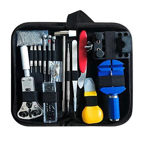 Forepin 147pcs Profesional Kit de herramientas de reparación de reloj, Barra de Resorte Pin Link Removedor portátil relojero de ajuste de resorte de removedor Kit con el caso de transporte