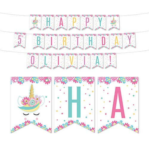 Andaz Press Magical Rainbow Unicorn Birthday Party Collection, Personalized Hanging Pennant Banner with String, Happy 5th Birthday Olivia!, 5-Feet, 1 Set, Custom Name
