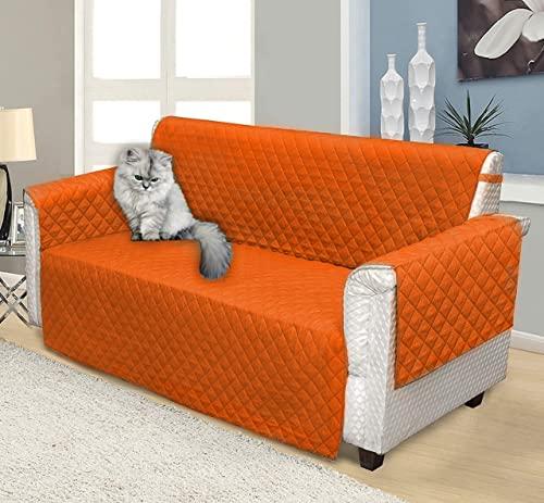 ELAFY Fundas de sofá – Fundas de sofá lavables – Fundas de sofá perfectas para mascotas – Fundas de muebles – Funda de sofá para perro con correas elásticas – 3 tamaños (1 plaza, naranja)