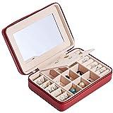 Baisix caja de joyería de cuero portátil princesa estilo europeo coreano simple y compacto mini pendientes pendientes caja de almacenamiento de joyería portátil (tipo E)