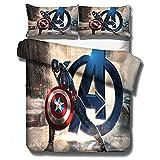 BLSM-3D Avengers Set di biancheria da letto natalizia, set di biancheria da letto per bambini, 100% microfibra, stampa digitale 3D, A10, 220X240CM