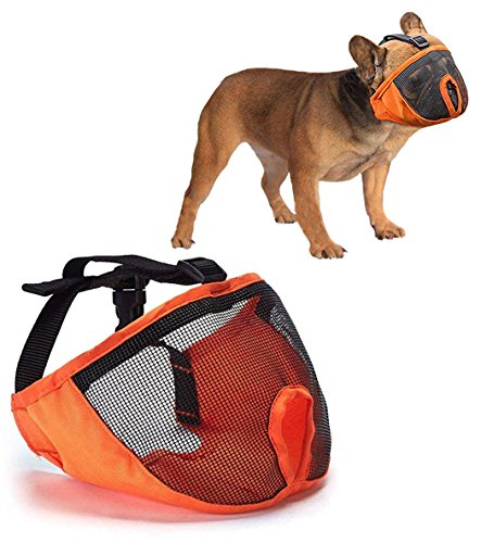 Luckshow Dog Muzzle for Short Snout - Stops Biting and Chewing - Bulldog Muzzle Breathable Mesh - Adjustable Size - Comfortable and Durable Nylon Cloth