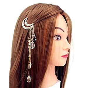 Beauty Shopping QTMY Moon Rhinestone Tassel with Crystal Beads Charms Hair Clip