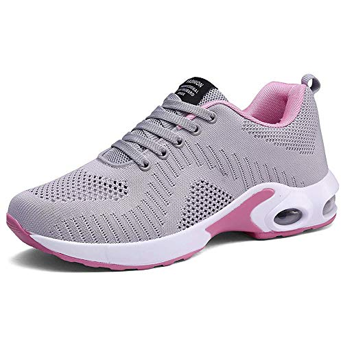 Pamray Women's Running Shoes Walking Air Cushion Lightweight Breathable Sneakers Athletic Sport Non Slip Grey-A 38
