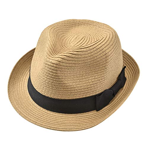 Faletony Stroh Panamahut, Sommer Fedora Sonnenhut Strohhut mit Band Faltbar Jazz Hut für Damen Herren, Beige/Kahki (Kahki)