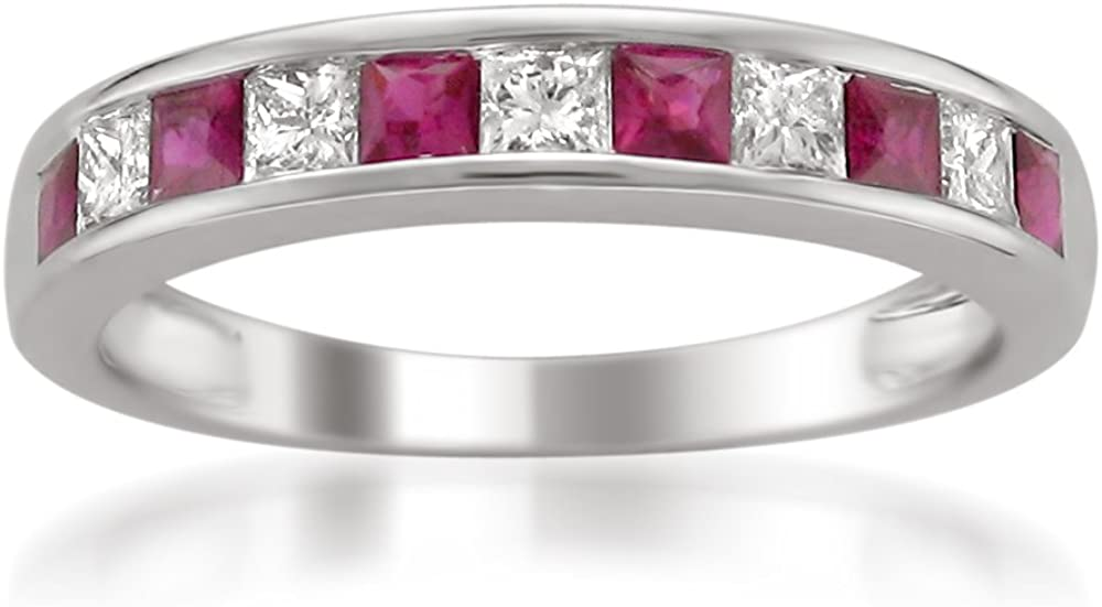0.48 to 0.61 Carat Diamond,14K Gold Channel Set Princess-cut Diamond Wedding Band (H-I, I1-I2) Real Diamond for Women| by La4ve Diamonds|Gift Box Included (Ruby & Blue Sapphire,White & Yellow Gold)