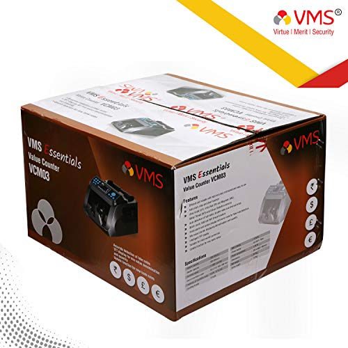 VMS Essentials Value/Money/Note/Cash/Currency Counting with UV,MG,IR,MT and Fake Note Detection sensors Plus External Display with Upgraded Version