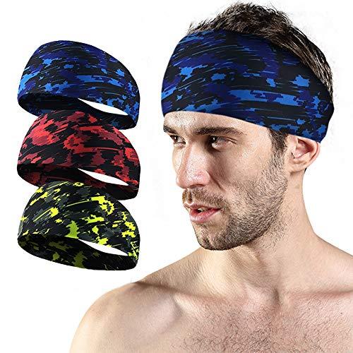 Aoweika - Fascia per sudore sportiva per uomo e donna, elastico e antiscivolo, con stampa mimetica, ampia fascia per il fitness, ideale per corsa, basket, ciclismo, yoga, colore: blu, rosso, verde