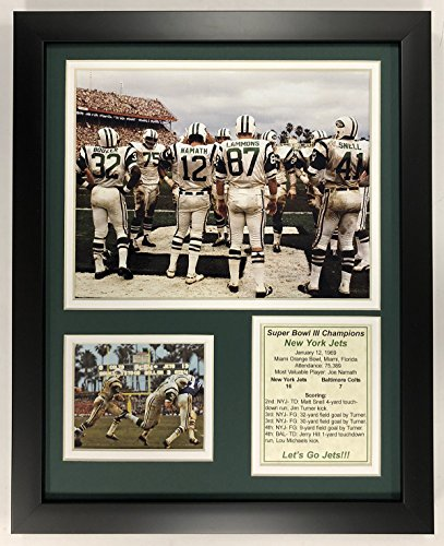 "Legends Never Die NFL 1969 New York Jets Super Bowl III Huddle Champions Framed Double Matted Photos, 12"" x 15"""