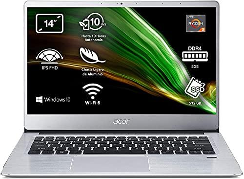 "Acer Swift 3 - Ordenador portátil 14"" FullHD (AMD Ryzen 3 3200U, 8GB RAM, 512GB SSD, UMA Graphics, Windows 10 Home), Color Plata - Teclado QWERTY Español"