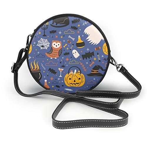 Wrution Halloween-Umhängetasche mit lustigem Spooky-Magic, rund, mit Reißverschluss, weiches Leder, kreisförmige Geldbörse für Damen