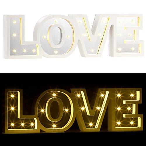 Lunartec LED-Deko-Schriftzug: LED-Schriftzug Love aus Holz & Spiegeln mit Timer & Batteriebetrieb (LED-Deko-Wörter)