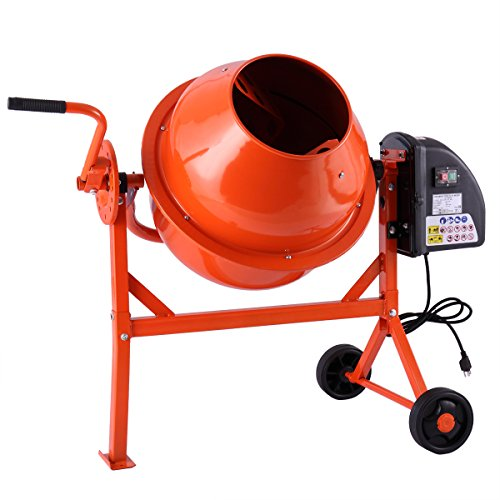 Electric Cement Mixer, Concrete Mixer Commercial with Stand, Small Machine Mixing for Wheelbarrow, 2 1/4 Cu.Ft (Orange)