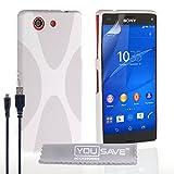 Yousave Accessories® x-Line Funda compacta de Silicona y Cable Micro USB para Sony Xperia Z3 - Blanco