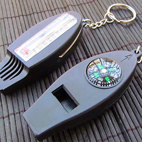 Silbato 4 en 1 con termómetro de Lupa Brújula Herramienta de Supervivencia de Silbato para Acampar al Aire Libre para Acampar en Exteriores (Color: Negro)