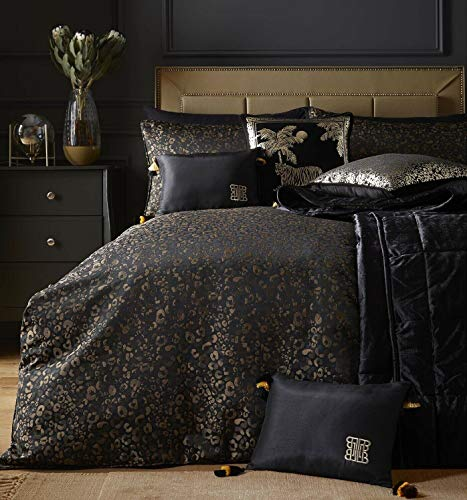 Laurence Llewelyn-Bowen - Roar - Jacquard Woven Duvet Cover Set - Double Bed Size in Black & Gold