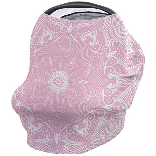 Fantastic Deal! Nursing Breastfeeding Cover Car Seat Canopy for Baby Indian Mandala Pink White Ultra...