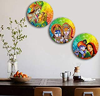 Studio Shubham Wooden Colorful Lord Krishna Wall Plates for Hanging (7.5 Inch, Set of 3)