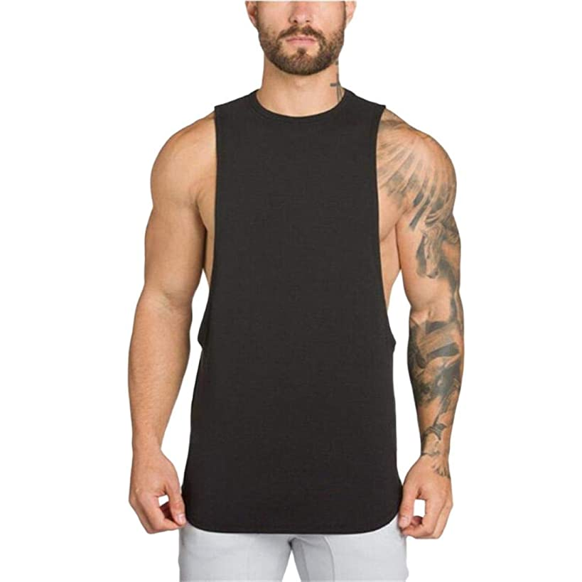 YOcheerful Men Vest Sleeveless Tank Top Sexy Muscle Shirt Tee Top Gym Sportswear Long Sleeve Yoga Shirt