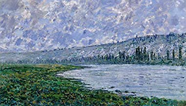 YYAYA.DS Claude Monet The Seine at Vetheuil Impressionism. - Art Print Silk Fabric Cloth Rolled Wall Poster Print 42x24 Inches