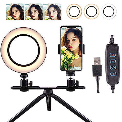 JZWDMD LED Ring Licht 6 Inch met Statief Stand voor Vlog Camera Video,Smartphone,Youtube,Self-Portrait Makeup Shooting, Mini LED Camera Licht met 3 Licht Modi & 11 Helderheid