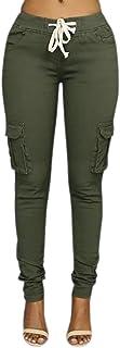 LAEMILIA Damen Stretch Beiläufig Skinny Hose Freizeithose in Khaki, Grün,Weiß,Schwarz