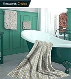 linyangpttowel Ensemble de 3 Serviettes de Bain Vintage - Motif Timbre rétro Gant de Toilette, Serviette et Serviette de Bain, Couleur-06, 3 Piece Set - M(1 Bath, 1 Hand, 1 Washcloths)