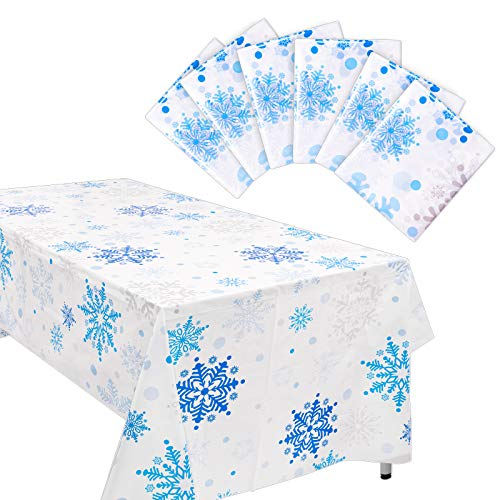 Whaline 6pcs Christmas Tablecloth Snowflake Table Cloth PVC Tablecloth, All Over Print, White and Blue, 54x 107in, for Xmas Party Supplies Holiday Table Decorations