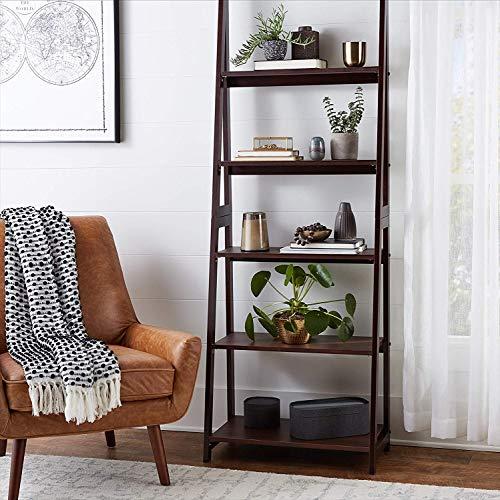 PJ Wood 5 Tier A-Frame Ladder Shelf - Espresso