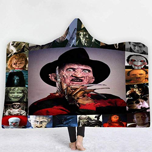 ALZERO Hooded Blanket, Horror Mysterious Character Hooded Blanket for Adult Gothic Sherpa Fleece Wearable Throw Blanket Microfiber Bedding (59x51inch, F)