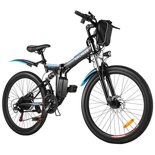 """ANCHEER Bicicleta Eléctrica Plegable 26 Pulgadas, Batería de Litio 36 V 8 Ah, Motor Sin Escobillas 250 W, 26"""" E-Bike 21 Velocidades para Adultos"""