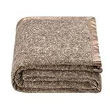 spencer & whitney Bed Blanket Wool Blanket Soft Throw Blanket Herringbone Blanket Four Season Use Warm Throw Blanket Large Wool Blanket Luxury Fleece Blanket Blanket Throws (Brown,Twin)