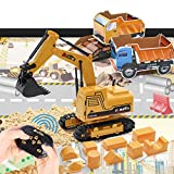 Tractor Sand Play Set, Remote Control Excavator Toy RC Construction Vehicles Hydraulic Excavators 1.1lbs Play Sand Molds Play Mat Dump Truck, Rechargeable Digger Sensory Toys for Boys Girls Kids
