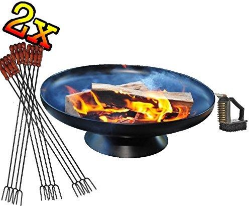 51iXlV 2q L - SET 2x Feuerschale mit Zubehör Bürste Reiniger Besteck Grillbesteck Spieß lt Angebot-Beschreibung GRILL (je nach Wahl mit 4 - 8 - 12x Grillspiessen) mit Zubehör grillzubehör mit Grillzubehör: je 12x Grillspiesse und Reinigungsbürste