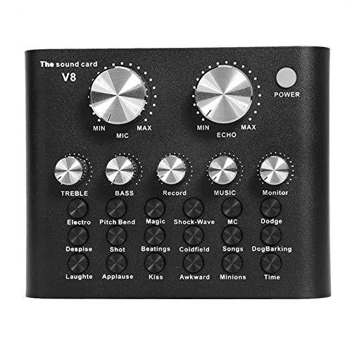 TenYua Audio Interface V8 Usb Scheda Audio Microfono Webcast Live Sound Card Funzione USB Bluetooth per Telefono PC