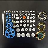 Miner Plastic Gears Set DIY Assembly Toy Dientes Cinturón Worm Band Wheel Sector Crown Doble Eje Layer Helicopter Car Parts, Conjunto de Engranajes de Banda de Goma
