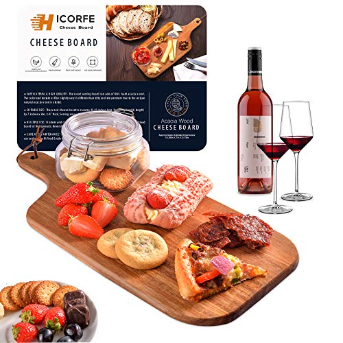 Acacia Wood Bread Board, Wooden Serving Board and Cheese Board, Modern Design with Handle-15.35 x 7 Inch