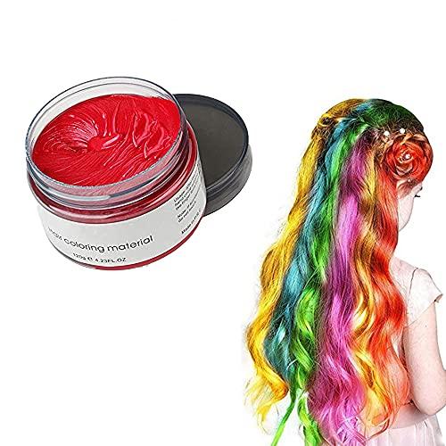 Styling Haarwachs für Männer und Frauen Temporäre Haarcreme 9 Farben optional Einwegfärbe Haarcreme Stylingcreme (Rot)