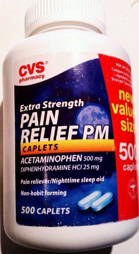 CVS Extra Strength Pain Relief Pm Pain Reliever/Nighttime Sleep Aid 500 Caplets Acetaminophen 500 Mg
