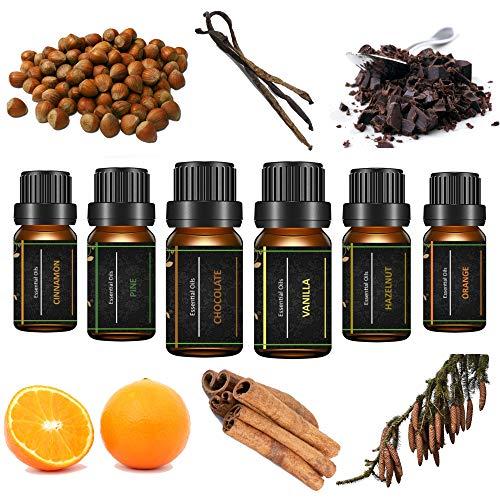 Seifenprofis Ätherische Öle Set, 6 x 10 ml (Zimt, Orange, Vanille, Kiefer, Schokolade, Haselnuss) Diffuser/Duftlampen/Lufterfrischer (Winter)