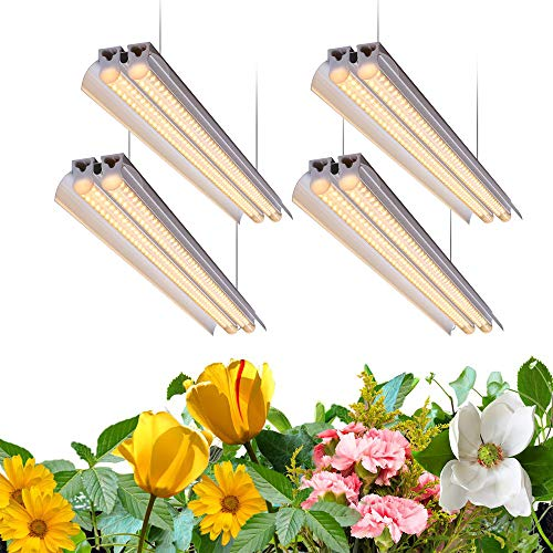 Monios-L T5 LED Grow Light, 4FT Full Spectrum Sunlight Replacement with Reflector, 240W(4×60W) Double Tube White Light Integrated Fixture with Hanging System for Indoor Plants,Plug and Play 4-Pack