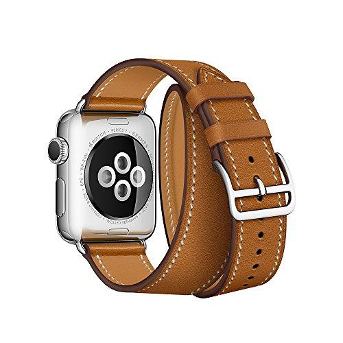 Firsteit Pulseira de couro de substituição compatível com Apple Watch 38 mm, 40 mm, 42 mm, 44 mm, pulseira de couro genuíno para iWatch Series 6 5 4 3 2 1 Sport&Edition (Double Tour-Brown, 38 mm/40 mm)