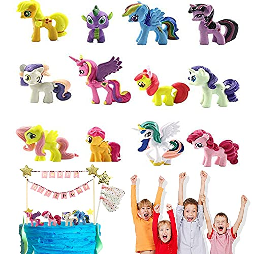 12 Stück Einhorn Mini Figuren Set Tortendeko Einhorn Geburtstagstorte Dekoration Cartoons Kuchen Topper für Kinder Mädchen Party