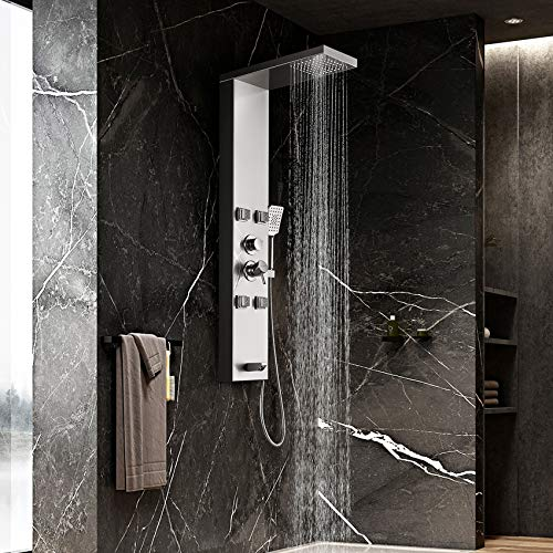 Adbatnos Shower Panel, Shower Panel System with Rainfall and Mist Shower Head and 4 Adjustable Massage Jets, 3-Function Hand Shower and Tub Spout,Bathroom Wall Mounted Shower Panel Tower