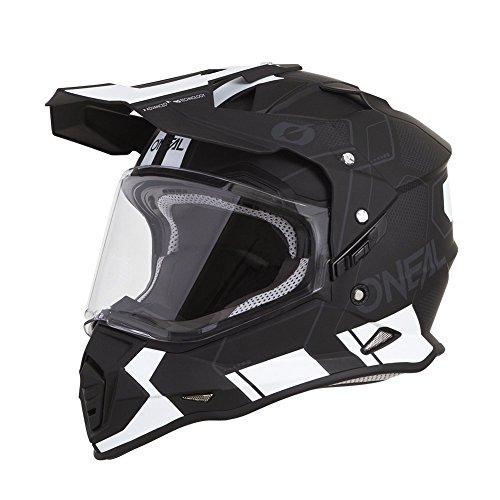 O'NEAL | Motorrad-Helm | Enduro Motorrad | Testsieger (Adventure - und Endurohelme), ABS-Schale, integrierte Sonnenblende | Sierra Helmet Comb | Erwachsene | Schwarz/Weiß | Größe L (59/60 cm)