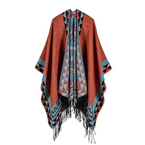 YianBestja Mujeres Poncho Cardigan Punto Bloques Colores