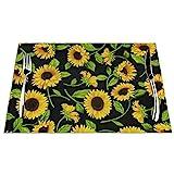 Set di 6 tovagliette con stampa di fiori di sole, resistenti alle macchie, per tavolo da pranzo, cucina, antiscivolo, resistenti al calore